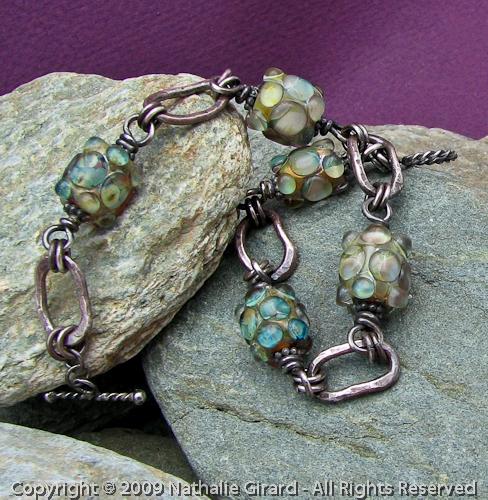 Canadian Rockies Art Fine Silver Fused Lampwork Bracelet