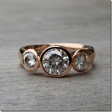 A Stunning Moissanite And Recycled Wedding Engagement Ring