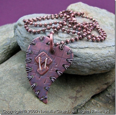 Mended Heart Copper and Sterling Pendant by Nathalie Girard at Canadian Rockies Art